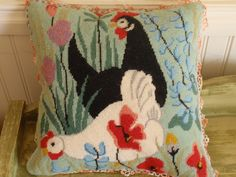 Needlepoint+Pillow+Completely+finished+Chickens+by+ArtsySewin,+$80.00