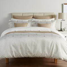Add a striking statement to the home with this Deco Diamond duvet cover set from Christy. In warm beige, this duvet cover set is adorned with a chic geometric diamond design which has been inspired by