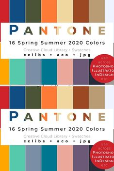 All 16 colors from Pantone Fashion Color Trend Report for Spring/Summer 2020 in a convenient Adobe Creative Cloud Libraries and Swatches formats! Easily import either file in Photoshop, Illustrator, InDesign and other Adobe applications and enjoy usi Color Trends, Color Combos, Color Schemes, 2020 Fashion Trends, Fashion 2020, Fashion Ideas, Adobe Creative Cloud, Pantone 2020, Fashion Colours