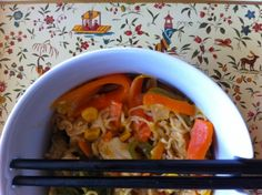 Recetas de Noodles de Pollo y Verduras