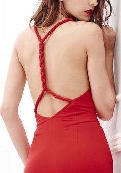 Red Side-Slit Evening Dress