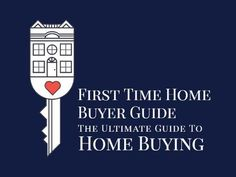 A first-time buyers template. A simple navy background with an illustration of a key and a house with text displaying 'First time home buyer guide'.