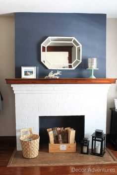 Teal Accent Wall Fireplace Wall But Use Blue Of Chair