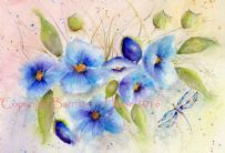 BLUE POPPIES & DRAGONFLY WATERCOLOUR FINE ART GICLEE PRINT