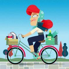 Redhead girl riding a bicycle, by Hugo Herrera Redhead Girl, My Portfolio, Disney Characters, Fictional Characters, Bicycle, Disney Princess, Art, Art Background, Bike
