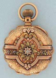 Beautiful Elgin 6/S 16K multi-color gold and diamond midsize antique pocket watch with rare multi-colored dial circa 1890.