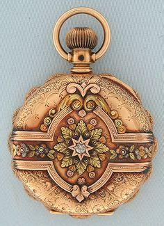 Bogoff Antique Pocket Watches Multi-Color Gold and Diamond - Bogoff Antique Pocket Watch # 6660