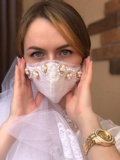 Easy Face Masks, Diy Face Mask, Organza Ribbon, Satin Fabric, Lace Bridal, Bridal Mask, Lace Mask, Mask Shop, Fashion Face Mask