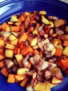 Paleo Fall Breakfast Hash- sweet potato, apple, bacon, and cinnamon