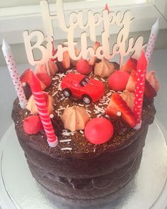 #chocolate #cake #birthday #red #candles #strawberries #choc #happybirthday #cakes