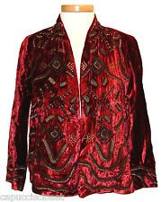 Lucky Brand Womens Jacket EMMA Velvet Beaded Embellished Red Sz M NEW NWT $399