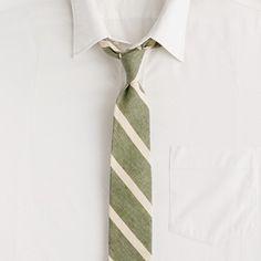 Macartney-stripe linen-cotton tie in spanish moss    $59.50