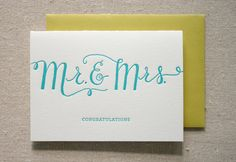 Mr. and Mrs. Letterpress Card #luvocracy #cards #graphicdesign #typography