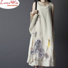 Original Sleeveless Chinese Style Linen Dress Ink Painting Art Type Gown Summer Daily Style