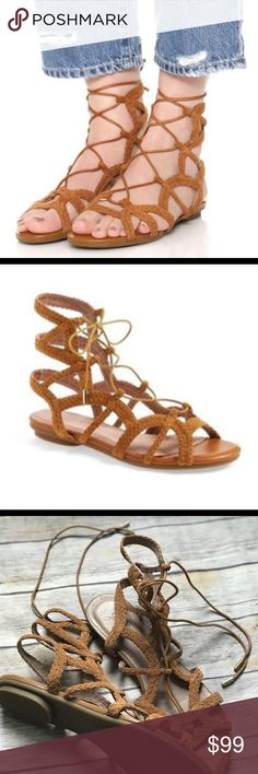 """Joie Flynn Gladiator Sandals In beautiful condition! Brown lace up gladiator style sandals by Joie. Slight marks on inner sole. Please see all pictures! Worn once indoors. Labeled size """"38.5"""" Joie Shoes Sandals"""