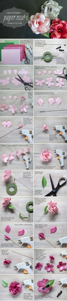 Metallic diy Long Stemmed Paper Roses flowers tutorial for hair clip - paper roses crafts, gift ideas