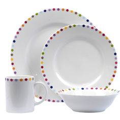 I kind of love these...  Could I DIY with a set of dollar store white dishes and some ceramic paint that wouldn't come off in the dishwasher?
