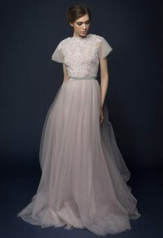 LAVENTI / lavender tulle wedding dress with french lace top / Bohemian wedding dress hand embroidery short sleeves wedding dress tulle skirt