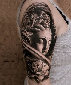 This hyper realistic Buddha portrait could portray enlightenment or awakening which are usually the main symbolisms of Buddha. The lotus flower is a great addition as it means purity. Both could mean that you are awakened and have become pure.