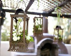 Rustic hanging lanterns for wedding reception by @Cactus Flower Florists  Wedding Bouquets and Reception Flowers   The Studio at Cactus Flower, Scottsdale, AZ