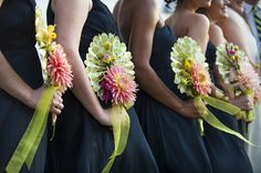 Funky spin on bridesmaids bouquet! love it! Carousel House Wedding: Natalie & Ryan - Justin & Mary - Photography