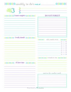 Printable Weekly To Do List for those weeks when you don't need a planner, just a list.