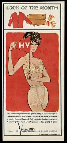 1963 Hollywood Vassarette lingerie eggshell lace bra brief vintage ad