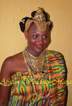 Bride dressed in a combo of Ghanaian and Itsekiri (Niger Delta, Nigeria) traditional wedding attire