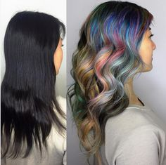 2016 could be the year you get into the galaxy hair color trend. 17 Beautiful AF Hair Transformations You Can Copy In 2016 Messy Hairstyles, Pretty Hairstyles, Hairstyle Ideas, Galaxy Hair Color, Hair Color And Cut, Bright Hair, Hair Transformation, Hair Today, Hair Dos