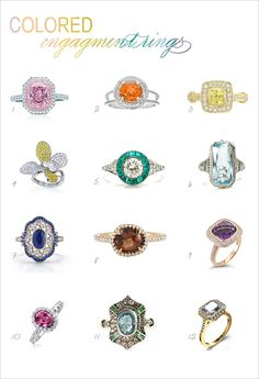Don't really like any of the rings...but LOVE the idea. Colored Stone Engagement Rings. (http://www.weddingchicks.com/2012/04/09/colored-stone-engagement-rings/)