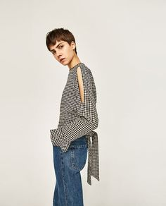Image 3 of GINGHAM CHECK TOP from Zara