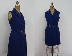 vintage 1960s dress / 60s navy blue nautical dress / 60s wrap dress / 60s jonathan logan dress / medium large / mad men