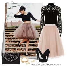 http://www.forarealwoman.com/2013/09/get-look-tulle-skirt-and-black-lace-top.html Get this street style: Coast nude tulle skirt, Marella black lace blouse, blac...