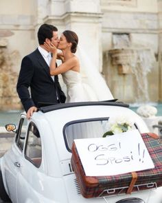 "See the ""Getaway Car"" in our A Romantic Outdoor Destination Wedding in Rome, Italy gallery"