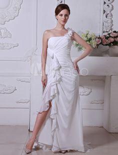 Ivory Satin Chiffon Floor Length Sheath Column Wedding Dress Abiti Da Sposa  Italiani 66f3dccf780