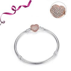 Wostu 925 LOVE charm bead Pendentif En Forme De Cœur Avec Zircone Cubique Coupe bracelet collier cadeau de Noël