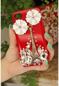 Flower With Eiffel Tower Cover Cell Phone CaseFor Iphone 4 Or Iphone 4s