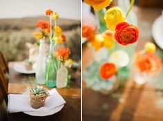 orange, yellow & aqua table setting with ranunculus and succulents