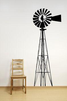 Windmill - Decal, Vinyl, Sticker, Home, Farm, Wall, Nursery, Bedroom Decor
