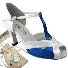 ab0d3503a2 Bundle Lightweight Very Fine Women Ballroom Salsa Tango Dance Shoe 2703  Heel Protectors Pouch Blue Stardust