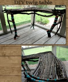 wholly curls: DIY home decor - Twig Table Porch Decorating, Decorating Your Home, Diy Home Decor, Interior Decorating, Branch Decor, Home Projects, Future House, Diy Furniture, Patio Table