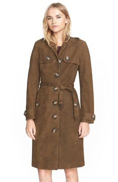 Burberry Brit 'Dellsbridge' Long Single Breasted Suede Trench Coat