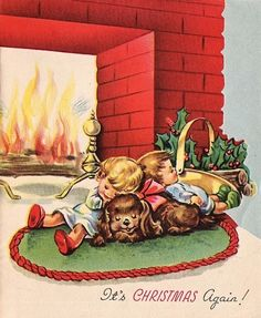 #368 50s Sweet Hearth Scene-Kids & Puppy Dog- Vintage Christmas Greeting Card