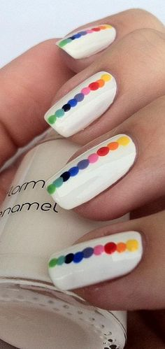 Rainbow Dots - nail design
