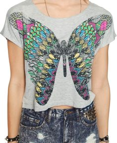 Vibrant Butterfly Crop Top | FOREVER21 - 2000045714