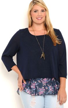 7d6f0e78087 Deb Shops Plus Size Knit Sweater with Envelope Back and Floral Layer