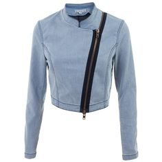 DAGMAR DAFINE BLUE COTTON/POLYESTER - ($190) ❤ liked on Polyvore featuring outerwear, jackets, casacos, coats & jackets, tops, women, blue jackets, cotton biker jacket, biker jacket and cotton moto jacket