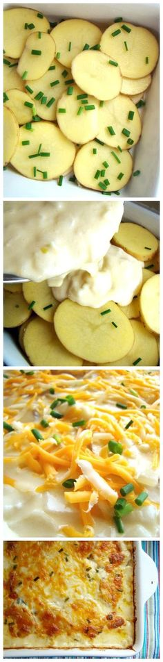 Cheesy Scalloped Potatoes Recipe:: Ingredients  1/4 cup butter _1 1/2 cups onion, diced _2 tbsp all-purpose flour_ 2 cups whole milk_ 2 cloves garlic _2 1/4 cups shredded cheese (a blend of cheddar, mozzarella, and monterey jack), divided 1/3 cup chives, snipped_ 4 large yukon gold potatoes (any kind will do), skins on, thinly sliced