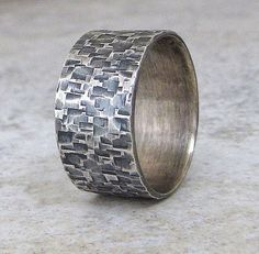 Silver Hammered Ring Wedding Band Distressed Wedding Ring Rustic Antique Mens Silver Bark Ring. $81.00, via Etsy.