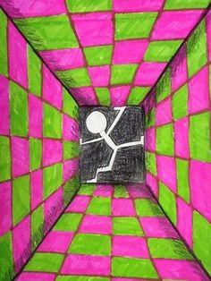 Door de lijnen naar 1 punt te laten lopen, creëer je een diepte waar de persoon in zit.